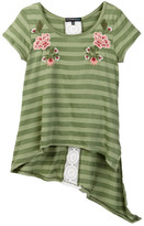 My Michelle mymichelle Embroidered Hi-Lo Asymetrical Hem Top (Big Girls)