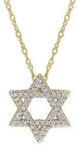 Sonatina 14K Yellow Gold & 0.16 TCW Diamond Star Of David Pendant Necklace