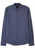 Corneliani Navy Textured Cotton Shirt