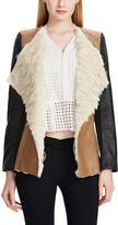Beige Lapel-Collar Faux Fur Coat