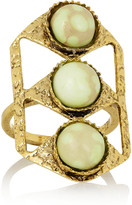 Lulu Frost Dreamlink gold-plated chrysoprase ring