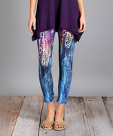 Lily Purple & Blue Abstract Leggings - Plus Too