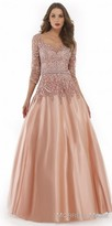 Morrell Maxie 3/4 Sleeve Shimmering Illusion Floral Evening Gown