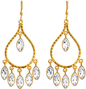 Orchid Jewelry Women's Earrings White - White Topaz & 14k Gold-Plated Chandelier Teardrop Earrings