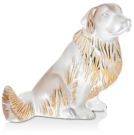 Lalique Golden Retriever Figure Gold Stamped