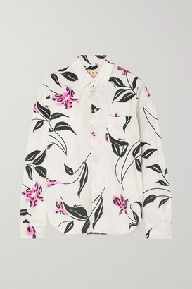 Marni Ruched Floral-print Cotton-poplin Shirt - White