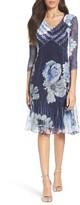 Komarov Petite Women's Orchid Flowers A-Line Dress