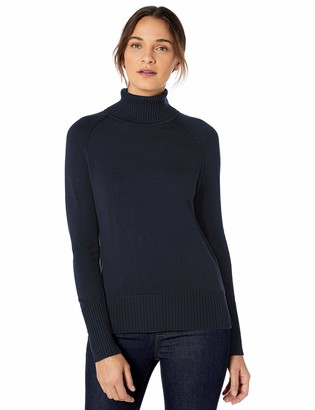 Lark & Ro Rib Detail Turtleneck Sweater Dark Navy XL