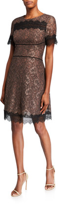 Shani Fit-and-Flare Lace Dress with Scallop Lace Trim