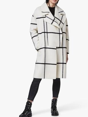 AllSaints Ryder Check Coat, Black/Ecru White