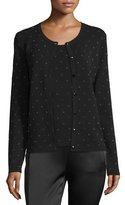 Escada Polka-Dot Intarsia Cardigan, Black