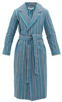 P. Le Moult - Oxford Striped Cotton Robe - Mens - Blue Multi
