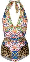 Dolce & Gabbana Majolica leopard print swimsuit