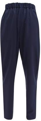 Marni Tropical High-rise Relaxed Wool Trousers - Womens - Navy