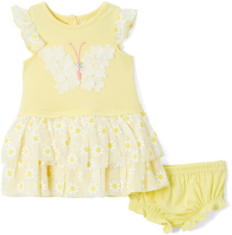 Nannette Baby Girls' Casual Dresses YELLO - Yellow Chiffon Butterfly & Floral Angel-Sleeve Dress & Yellow Bloomers - Infant