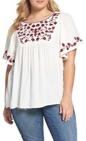 Lucky Brand Plus Size Women's Hannah Embroidered Peasant Top