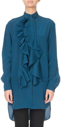 Givenchy Tie-Neck Pleated Ruffled Button-Front Blouse