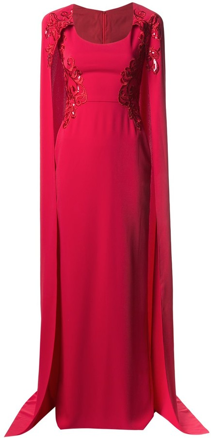 Marchesa Embroidered Cape-Effect Gown
