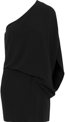 Halston One-shoulder Draped Crepe Mini Dress