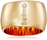 GUESS Metal With Stone-Logo Gold Ring, Size 7