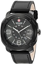 Wenger Escort Men's Quartz Watch with Grey Dial Analogue Display and Black Leather Strap 011051108