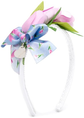 MonnaLisa Floral-Applique Thin Headband