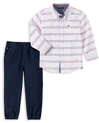 Tommy Hilfiger Little Boy's 2-Piece Logo-Print Cotton Shirt & Pants Set