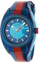 Gucci 46mm Sync Sport Watch w/ Rubber Strap, Blue/Red