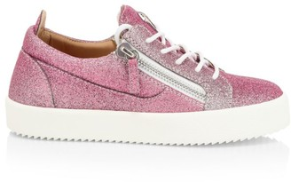 Giuseppe Zanotti Gail Double-Zip Glitter Leather Sneakers