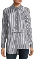 Milly Fractured Stripe Shirting Combo Shirt