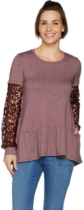 LOGO Lounge by Lori Goldstein French Terry Top with Crochet Sleeves