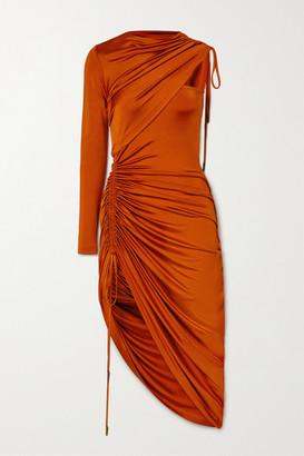 Monse One-sleeve Asymmetric Ruched Stretch-jersey Midi Dress - Orange