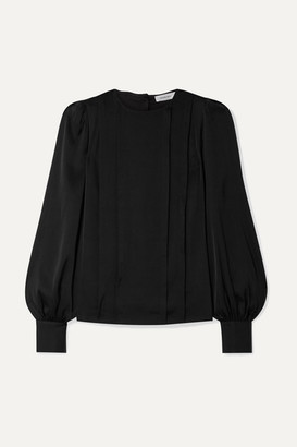 Anine Bing Renee Pleated Stretch-silk Satin Blouse - Black