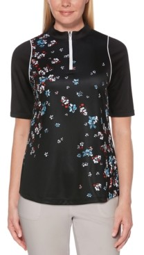 Pga Tour Floral-Print Quarter-Zip Golf Top