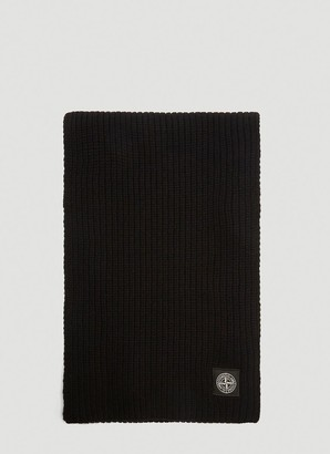 Stone Island Logo Patch Knitted Scarf
