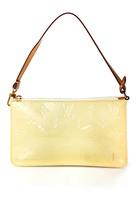 Louis Vuitton Yellow Monogram Vernis Zip Up Pochette Handbag Size Small