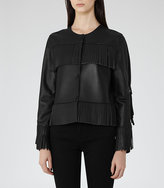 Reiss Olivia Fringed Leather Jacket