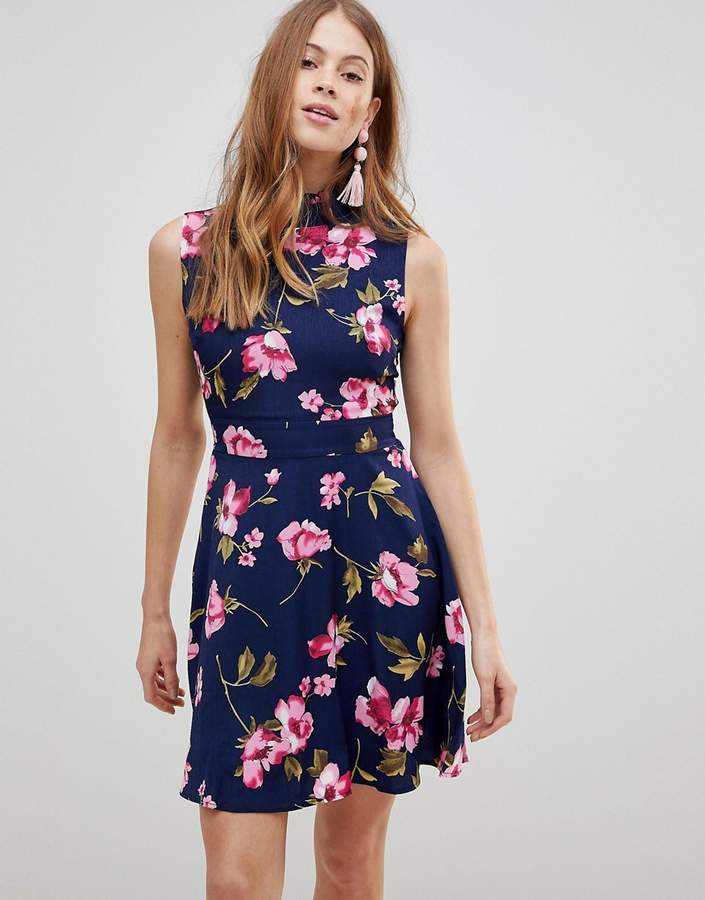 Yumi Flower Print Frill Neck Dress