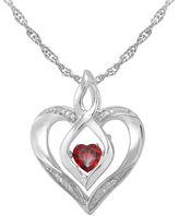 JCPenney FINE JEWELRY Love in Motion Genuine Garnet and Diamond-Accent Heart Pendant Necklace