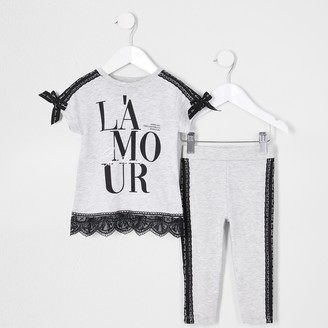 River Island Mini girls Grey 'Lamour' lace taped outfit