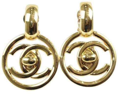 Chanel Coco Mark Gold Tone Metal Earrings