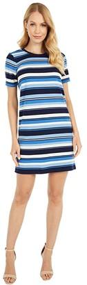 MICHAEL Michael Kors Court Stripe Tee Dress (Chambray) Women's Dress