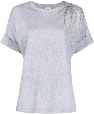 Brunello Cucinelli T-Shirt With Embroidered Detail At Shoulder
