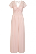 Quiz Peach Chiffon Embellished V Neck Maxi Dress
