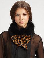 Saint Laurent Fur-Trimmed Leopard Print Collar