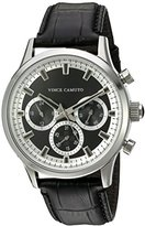 Vince Camuto Men's VC/1089BKSV Multi-Function Dial Black Croco-Grain Leather Strap Watch