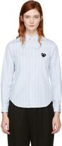 Comme des Garcons Blue Striped Heart Patch Shirt