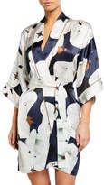 Violet & Wren Floral-Print Piped Silk Kimono Robe