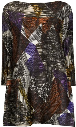 Pleats Please Issey Miyake Abstract-Pattern Flared Blouse