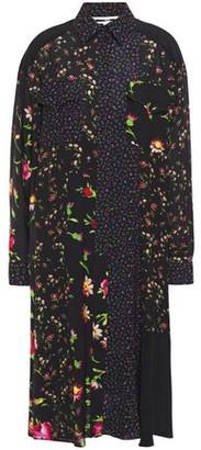 McQ Paneled Floral-print Crepe De Chine Shirt Dress
